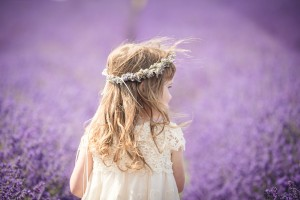Child photography at Cotswold lavender with flower crown