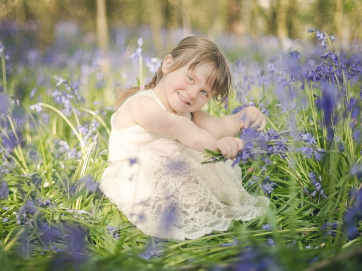 Child photography bluebell woodland Gloucestershire