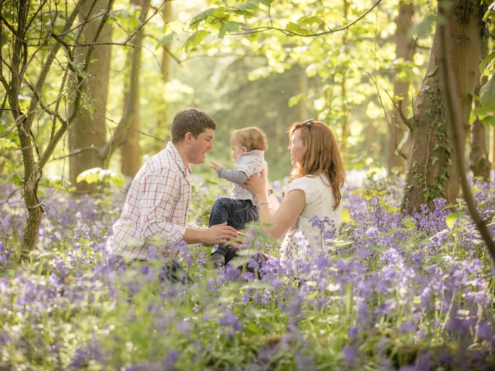 Bluebell woodland family portrait photography Gloucestershire