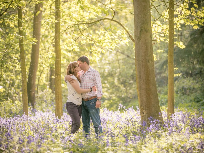 family portrait bluebell woodland sunset