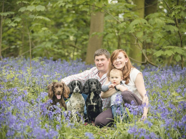Family portrait bluebell woodland Gloucestershire