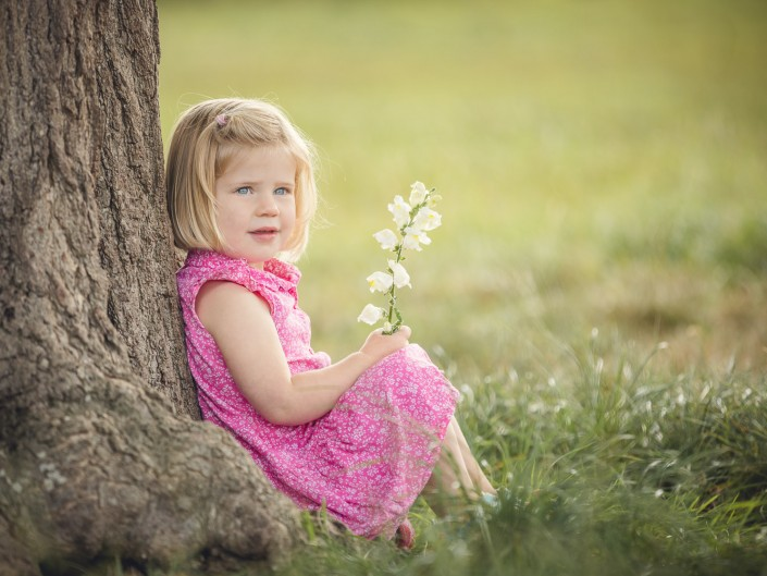 Child portrait tree flower Gloucestershire