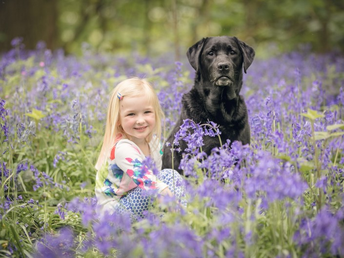 Child dog bluebells Gloucestershire