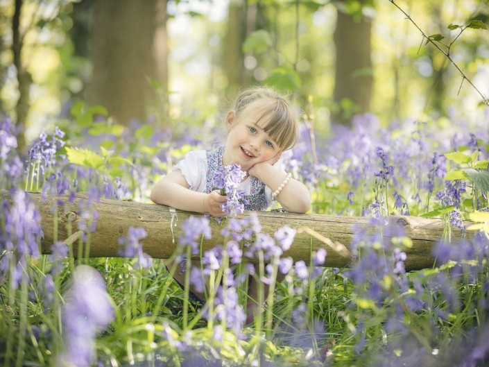 Child photography bluebell woodland
