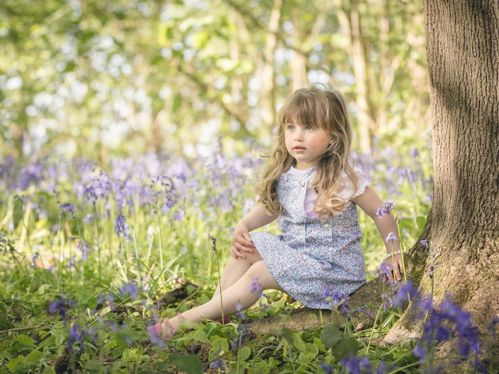 child portrait photography bluebell woodland