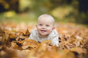 Baby portrait photography autumn leaves Gloucestershire