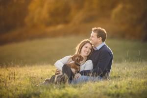 Couple engagement photoshoot sunset with pet dog