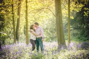 Couples engagement photoshoot bluebell woodland Cotswolds