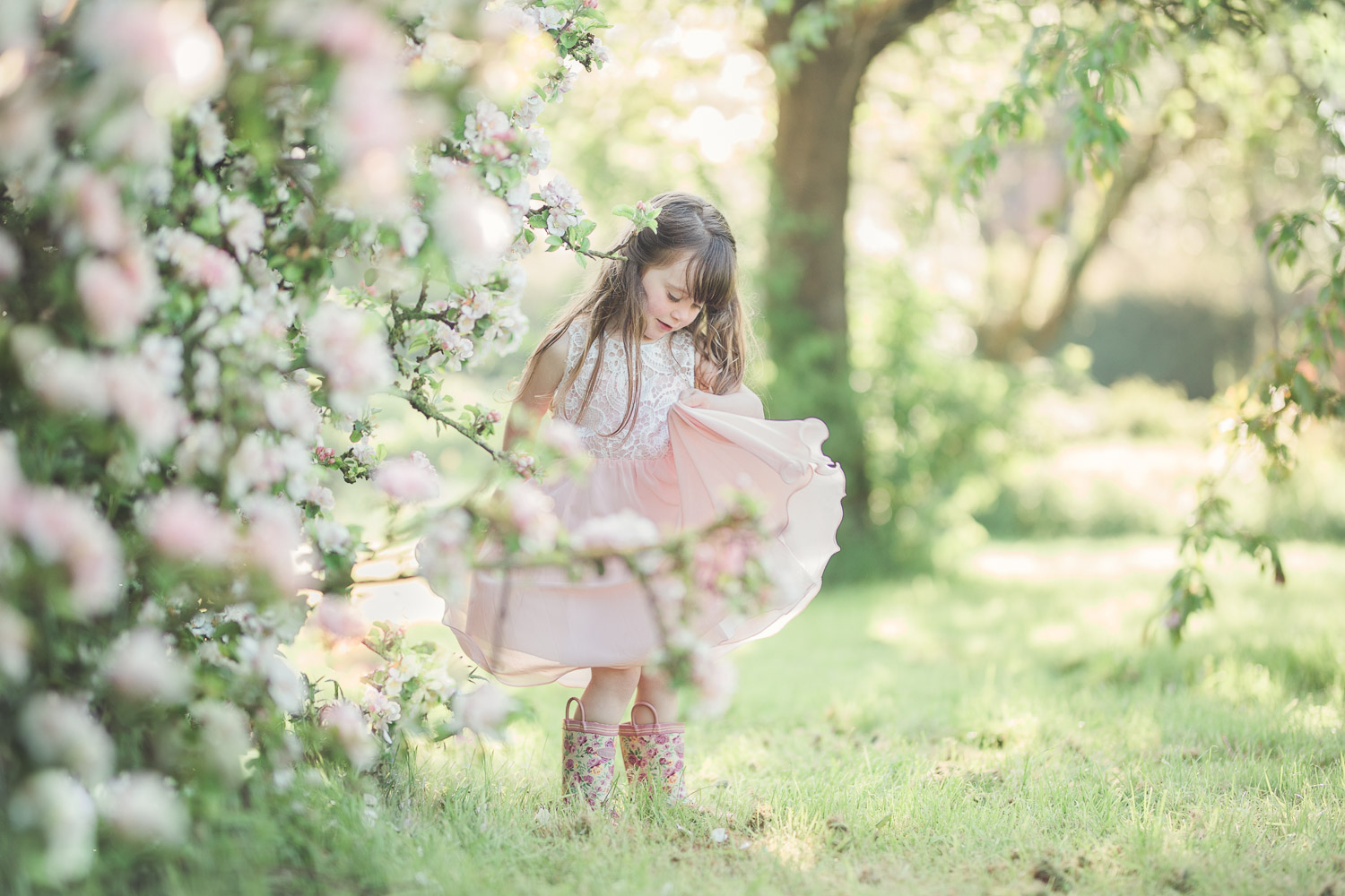 Family photography apple blossom Gloucestershire