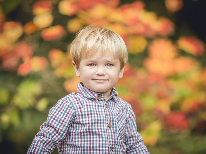 Child portrait autumn leaves Gloucestershire