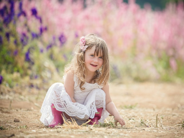 Child portrait flower fields Worcestershire