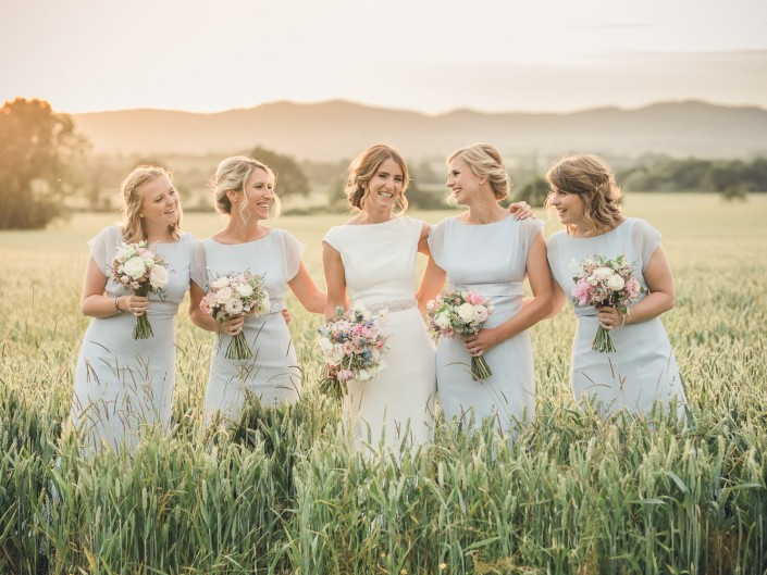 Country wedding Gloucestershire bridal party