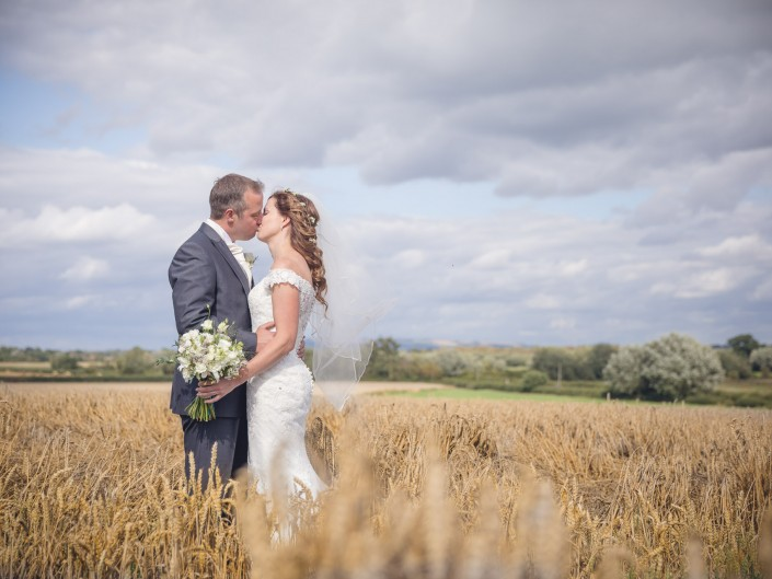 Country wedding wheat fields