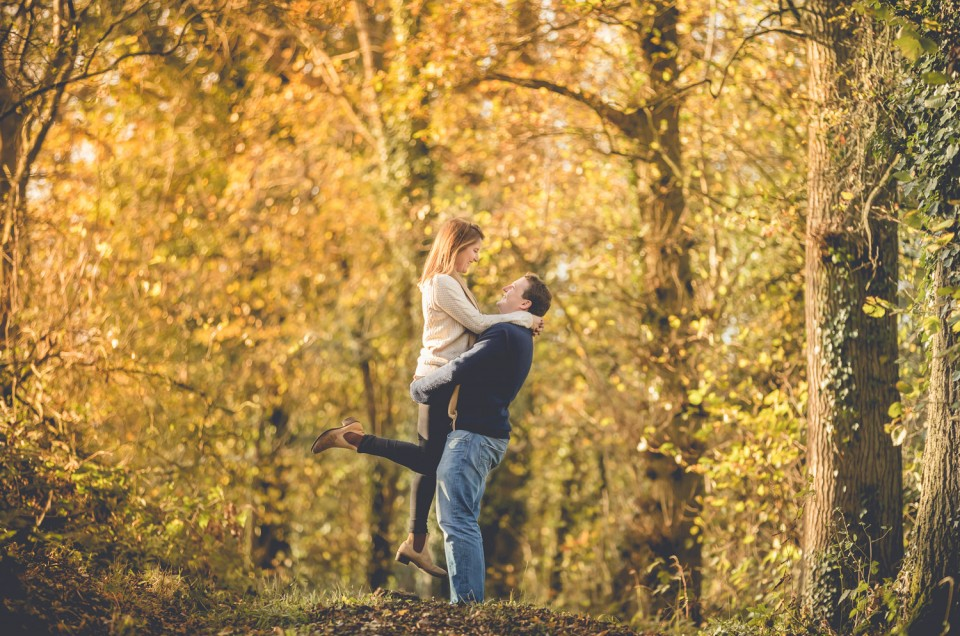 Gloucester Autumn woodland Engagement photoshoot