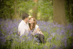 Engagement photoshoot bluebells Cotswolds
