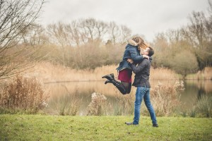 Gloucester engagement photoshoot couple by lake