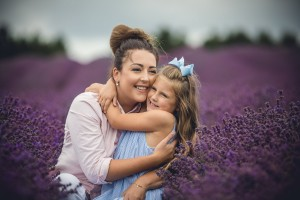Cotswold lavender fields mother daughter