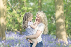 Mother daughter bluebells Gloucestershire