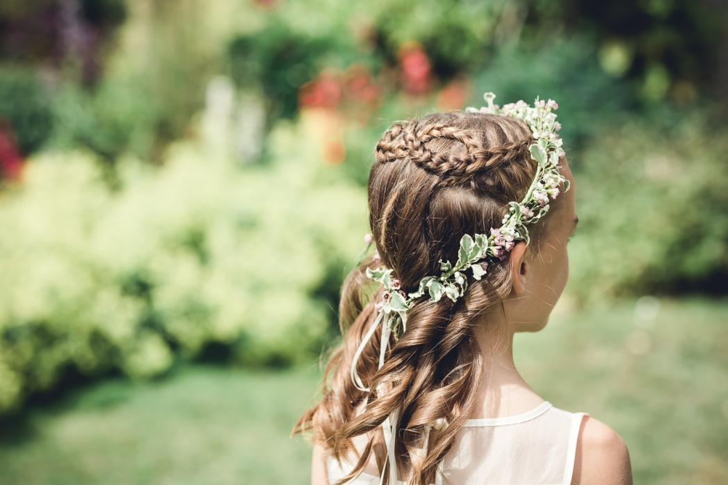 Flower girl hairstyle with flower crown