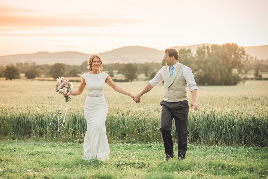 Country wedding wheat field Gloucestershire
